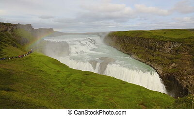 Beautiful rainbow over gullfoss waterfall in Iceland in the...