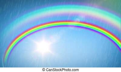 Beautiful Rainbow with the Sun and Rain. Time Lapse. HD...