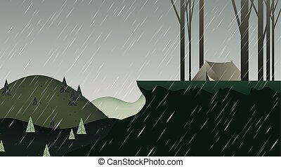Beautiful rainy scenery landscape, camping tent on the mountain with trees, green tone
