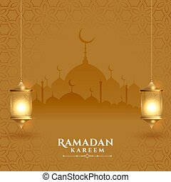 beautiful ramadan kareem festival card with lanterns