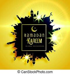 beautiful ramadan kareem greeting card design with frame made with mosque