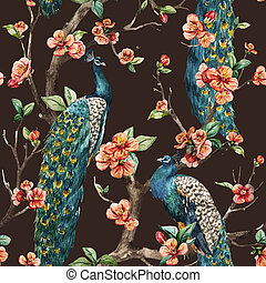 Watercolor raster peacock pattern - Beautiful raster pattern...