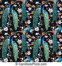 Watercolor raster peacock pattern - Beautiful raster pattern...