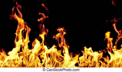 Beautiful Realistic Fire Ignition on Black Background with...
