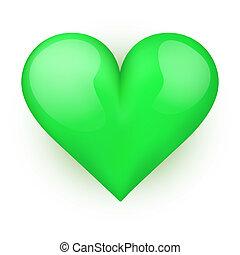 Beautiful realistic green heart. Vector.