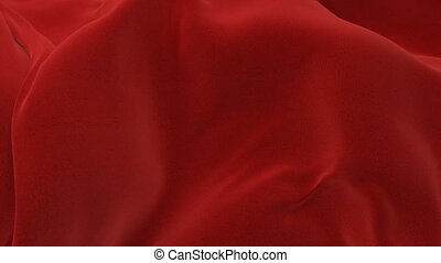Beautiful Red Abstract Big Cloth Surface Waving in the Wind...