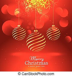 beautiful red background with hanging golden christmas balls