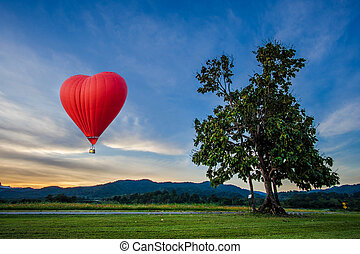 Beautiful Red balloon in the shape of a heart at sunset