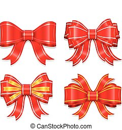 beautiful red bow for packaging gift on white background...