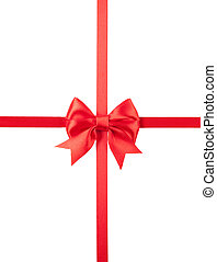 Beautiful red bow isolated on white background.