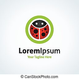Beautiful red bug coccinella in green circle vector logo...