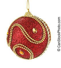 beautiful red christmas ball isolated on a white background