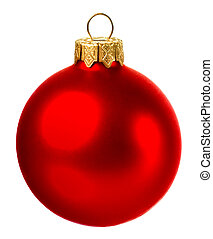 beautiful red christmas ball isolated on white background