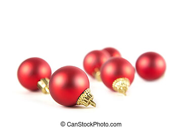 Beautiful red christmas balls isolated on white