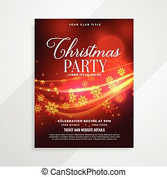 beautiful red christmas party flyer with light streak
