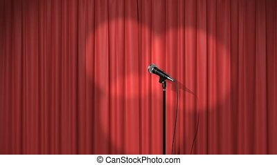 Beautiful Red Curtain with Spotlights and a Microphone on...