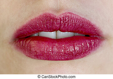 beautiful red female lips