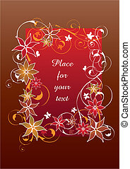 Beautiful red autumn floral frame vector illustration