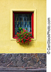 beautiful red flowers on the wall. lovely architecture...