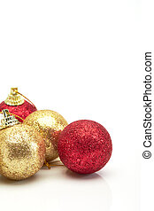 beautiful red gold and silver Christmas balls on white
