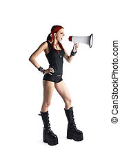 Beautiful Red Hair Girl With Megaphone