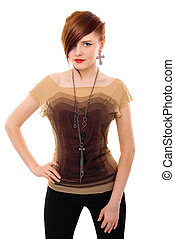 beautiful red hair woman posing in studio isolated