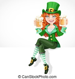 Beautiful red-haired girl leprechaun sitting on the banner...