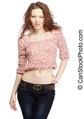 Beautiful red-haired model on white background