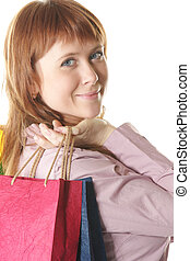 Beautiful red-haired shopper