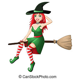 Beautiful red haired witch flying on a broomstick isolated...