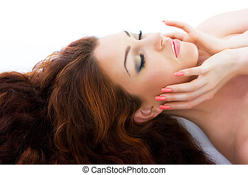 Beautiful red-haired woman - Close-up beautiful luxury fresh...