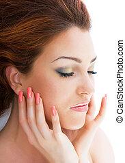 Beautiful red-haired woman - Close-up beautiful luxury fresh...