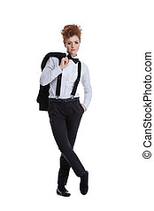 Beautiful red-haired woman posing in formal suit