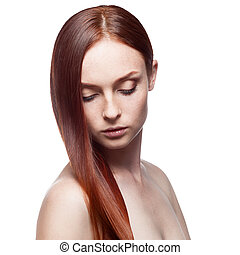 beautiful red haired woman - young caucasian red haired ...