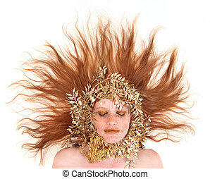 Beautiful Red Head Woman With Bronze Extreme Makeup