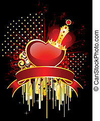 beautiful red heart in a crown
