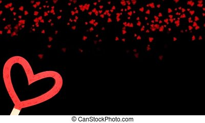 beautiful red heart on a black background on a background of falling red hearts