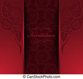 beautiful red invitation with a flower ornament