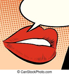 Beautiful red lips girl pop art retro style. Lips say a...