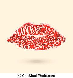 Beautiful red lips set on white
