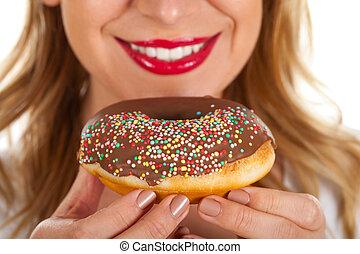 Beautiful red lips & yummy doughnut