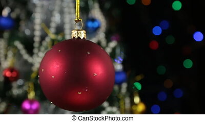 Beautiful red New Year and Christmas decoration ball heavily...
