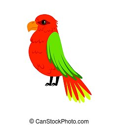 Beautiful red parrot with green wings colorful vector Illustration