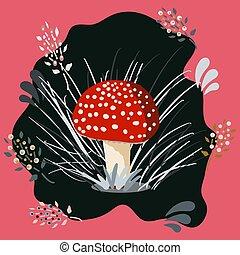 Beautiful red poisonous mushroom