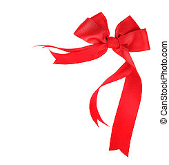Beautiful red ribbon & bow isolated - Beautiful red ribbon &...