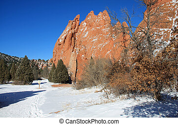 Garden of the Gods - Beautiful red rocks and snow in the...