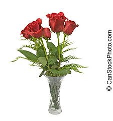 Beautiful red Roses in a Crystal Vase