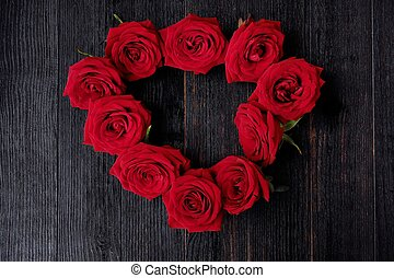 Beautiful red roses on a dark brown background