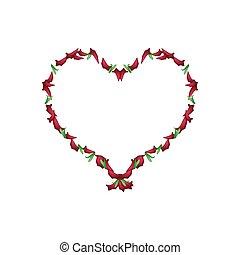 Beautiful Red Roses rose Petals in Heart Shape