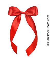 Beautiful red satin gift bow, isolated on white